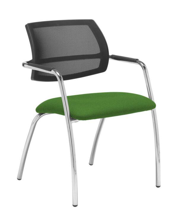 Tuba chrome 4 leg frame conference chair with half mesh back - Lombok Green - Furniture
