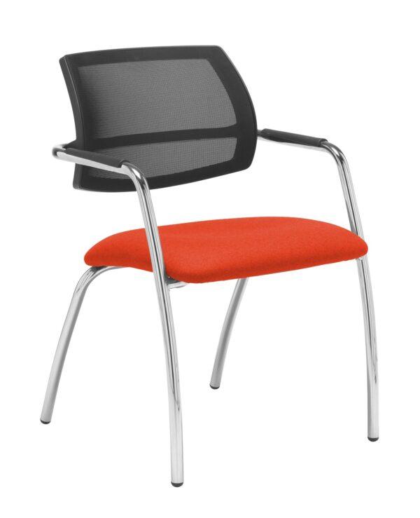 Tuba chrome 4 leg frame conference chair with half mesh back - Tortuga Orange - Furniture