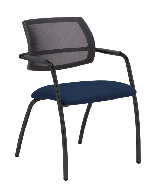 Tuba chrome 4 leg frame conference chair with half mesh back - Costa Blue - Furniture
