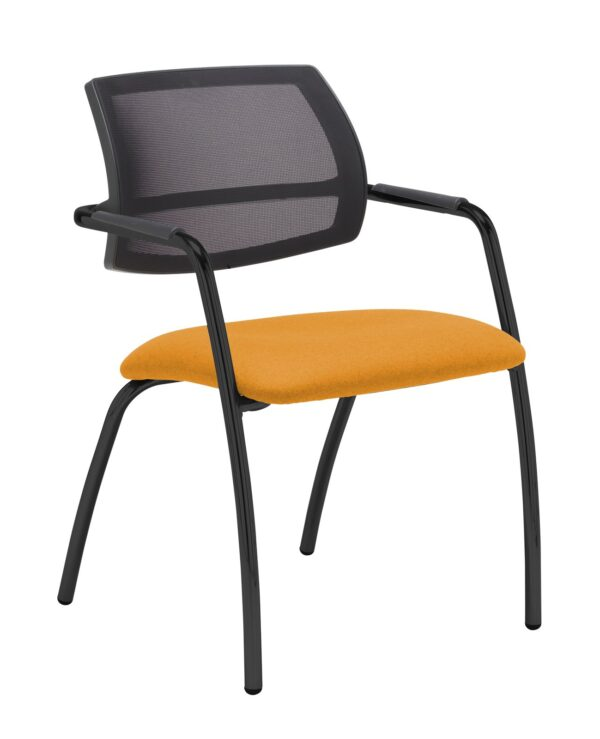 Tuba chrome 4 leg frame conference chair with half mesh back - Solano Yellow - Furniture