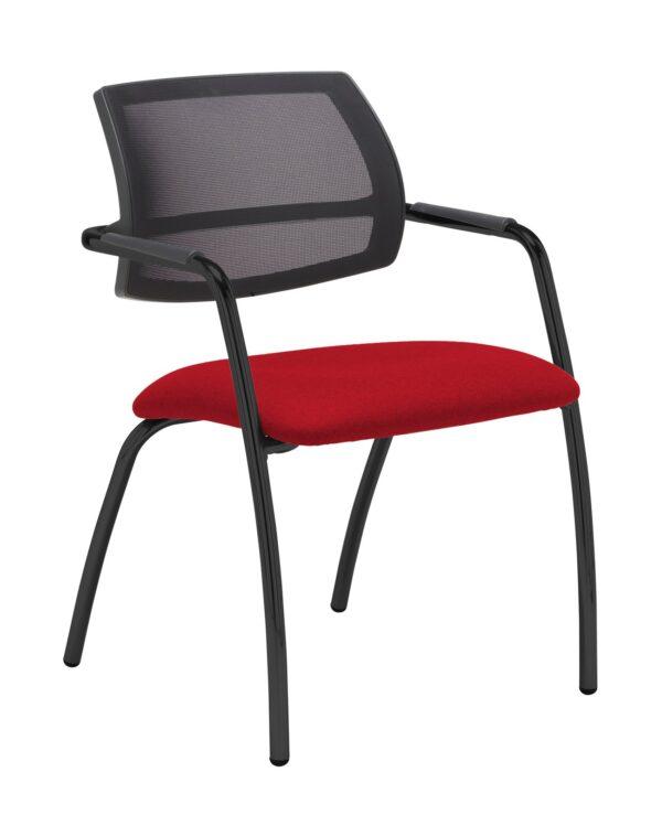 Tuba chrome 4 leg frame conference chair with half mesh back - Panama Red - Furniture