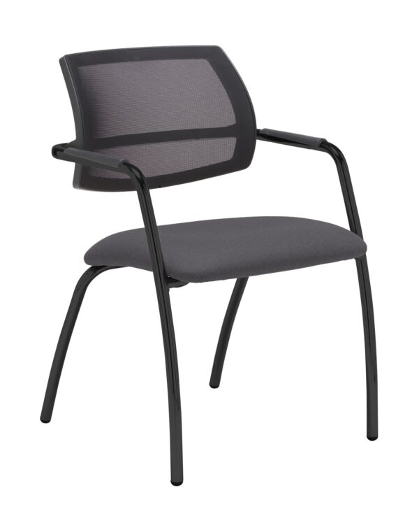 Tuba chrome 4 leg frame conference chair with half mesh back - Blizzard Grey - Furniture