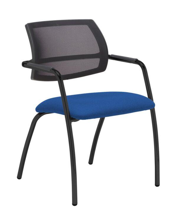 Tuba chrome 4 leg frame conference chair with half mesh back - Scuba Blue - Furniture
