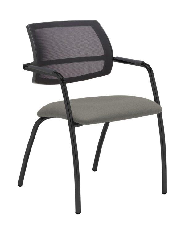 Tuba chrome 4 leg frame conference chair with half mesh back - Slip Grey - Furniture