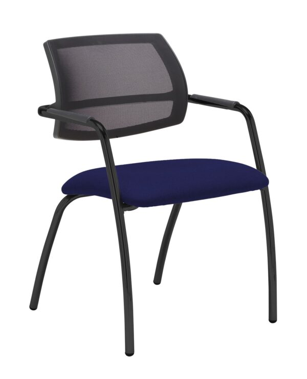 Tuba chrome 4 leg frame conference chair with half mesh back - Ocean Blue - Furniture