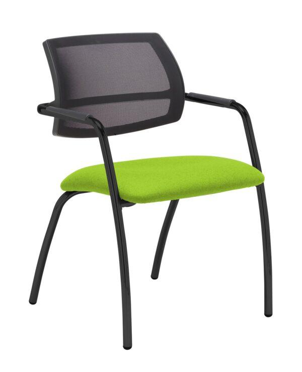 Tuba chrome 4 leg frame conference chair with half mesh back - Madura Green - Furniture