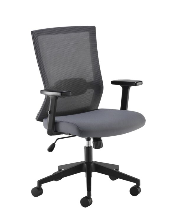 Travis grey mesh back operator chair with grey fabric seat and black base - Furniture