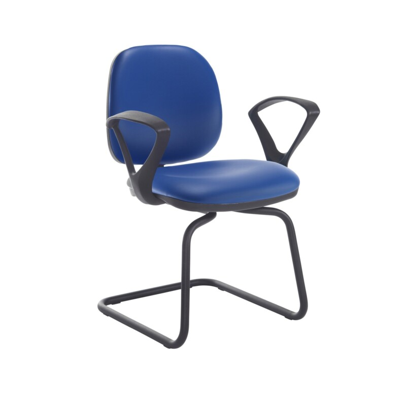 Jota fabric visitors chair with fixed arms - Ocean Blue vinyl - Furniture