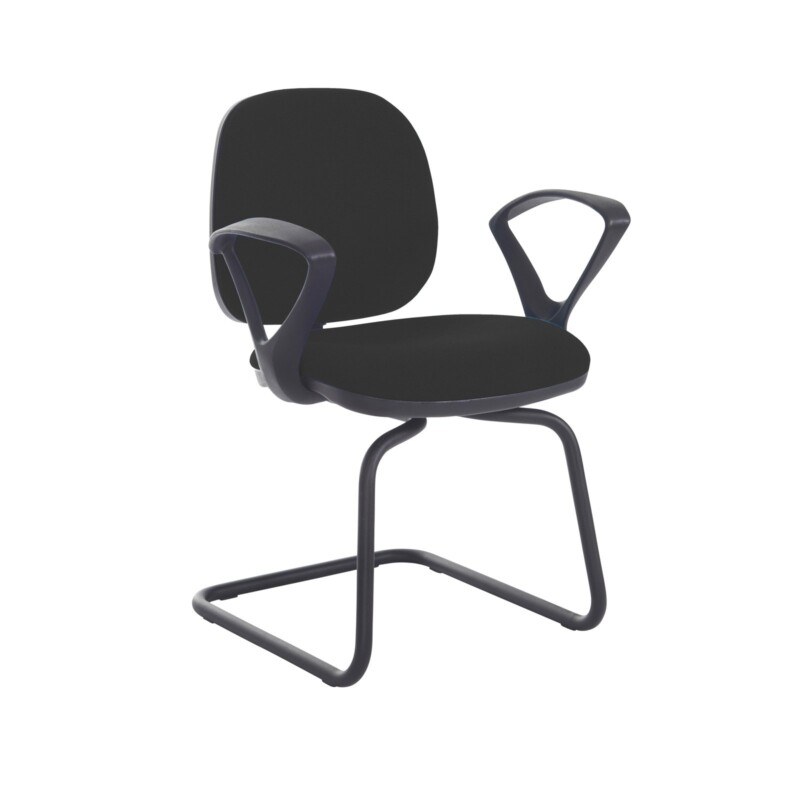 Jota fabric visitors chair with fixed arms - Havana Black - Furniture