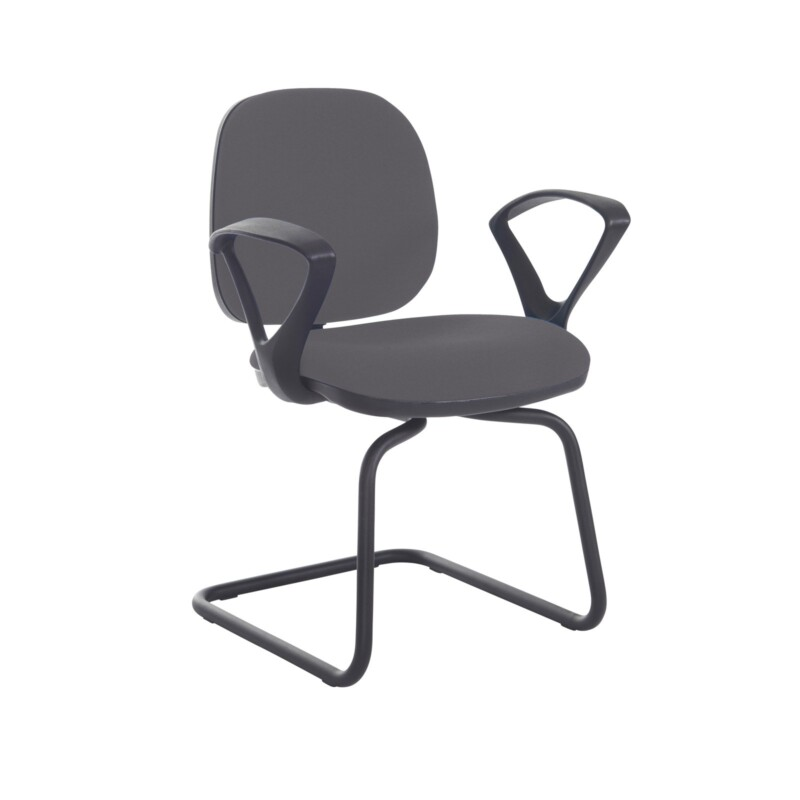 Jota fabric visitors chair with fixed arms - Blizzard Grey - Furniture