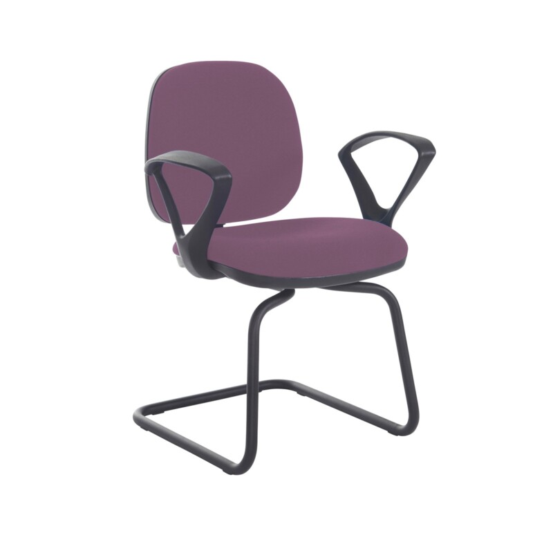 Jota fabric visitors chair with fixed arms - Bridgetown Purple - Furniture