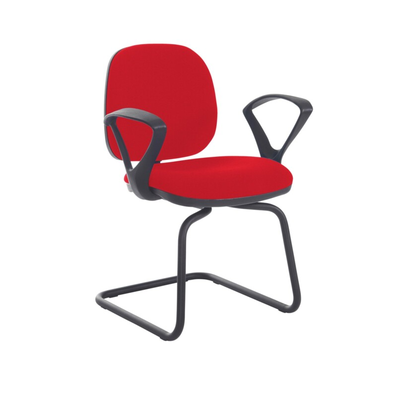 Jota fabric visitors chair with fixed arms - Belize Red - Furniture