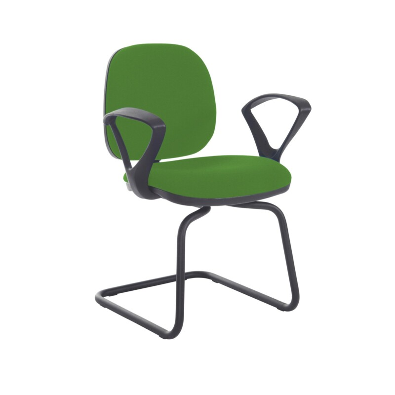 Jota fabric visitors chair with fixed arms - Lombok Green - Furniture