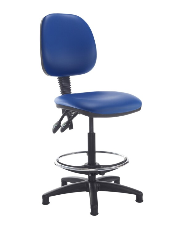 Jota draughtsmans chair with no arms - Ocean Blue vinyl - Furniture