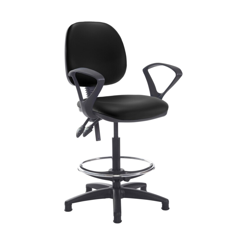 Jota draughtsmans chair with fixed arms - Nero Black vinyl - Furniture