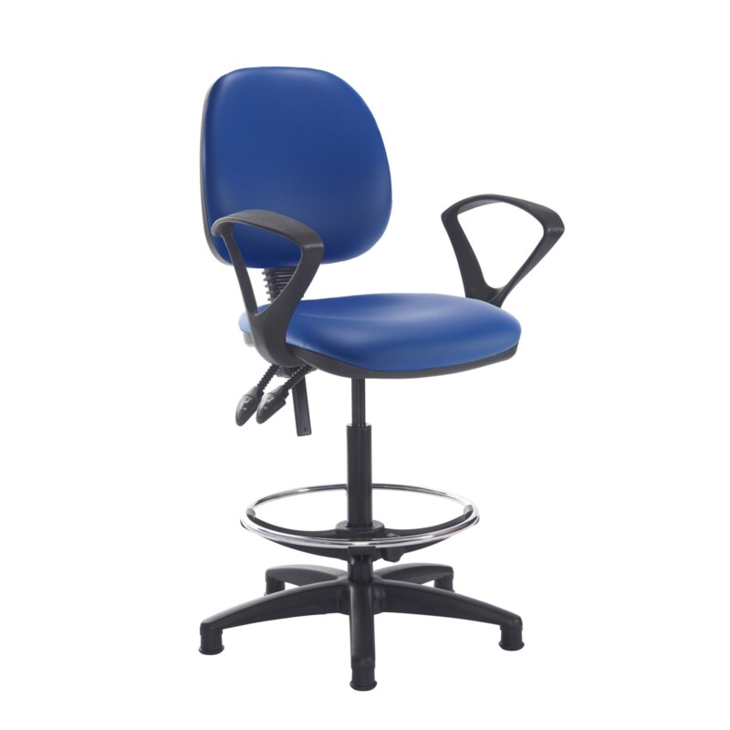 Jota draughtsmans chair with fixed arms - Ocean Blue vinyl - Furniture