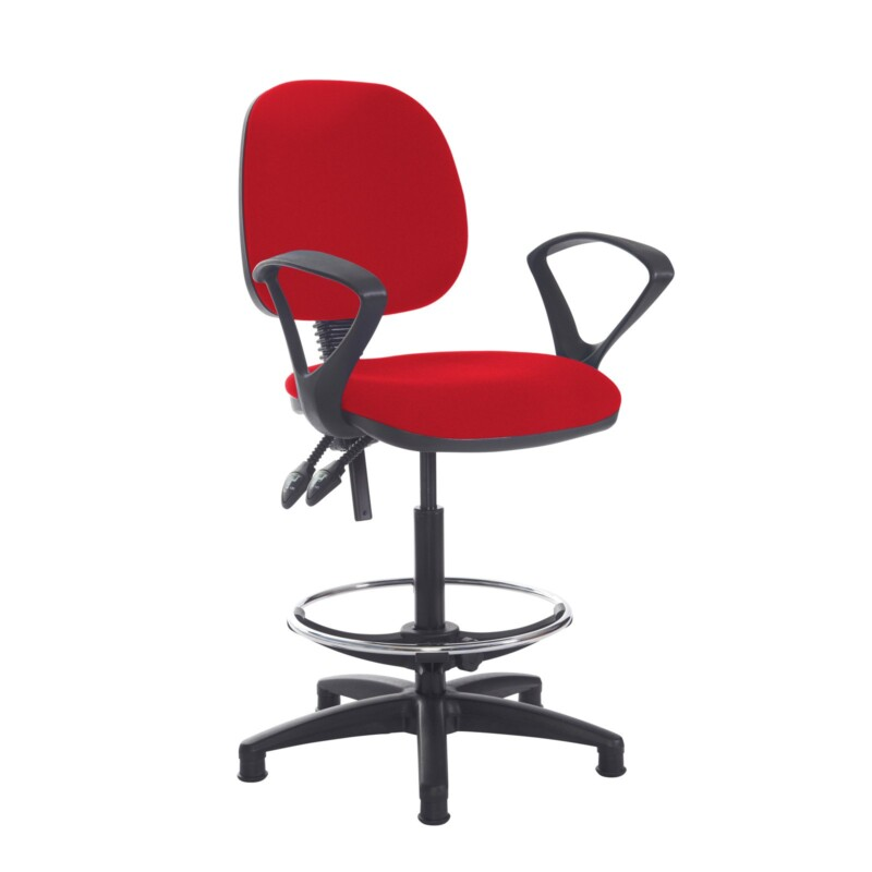 Jota draughtsmans chair with fixed arms - Panama Red - Furniture