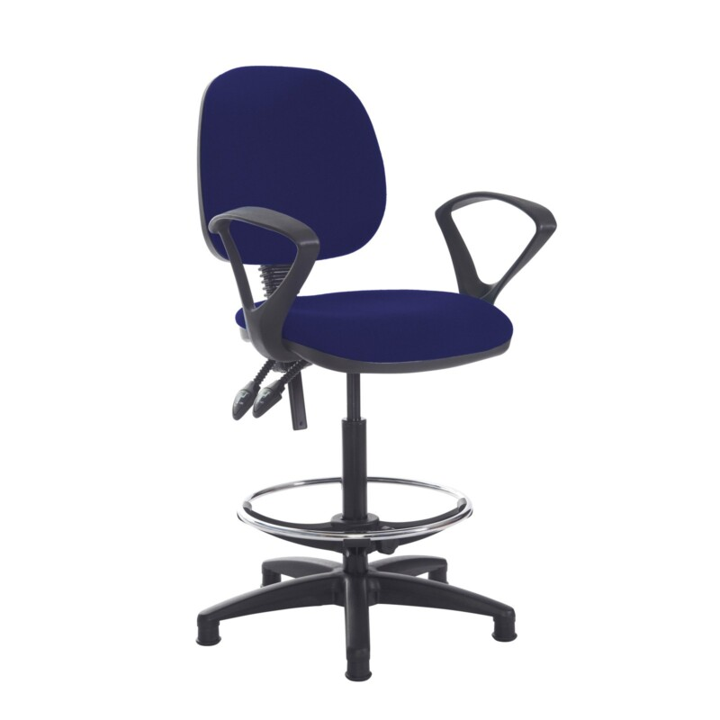 Jota draughtsmans chair with fixed arms - Ocean Blue - Furniture