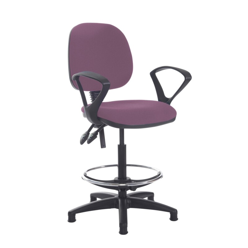 Jota draughtsmans chair with fixed arms - Bridgetown Purple - Furniture