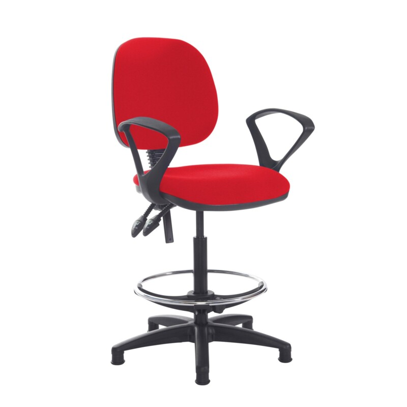 Jota draughtsmans chair with fixed arms - Belize Red - Furniture