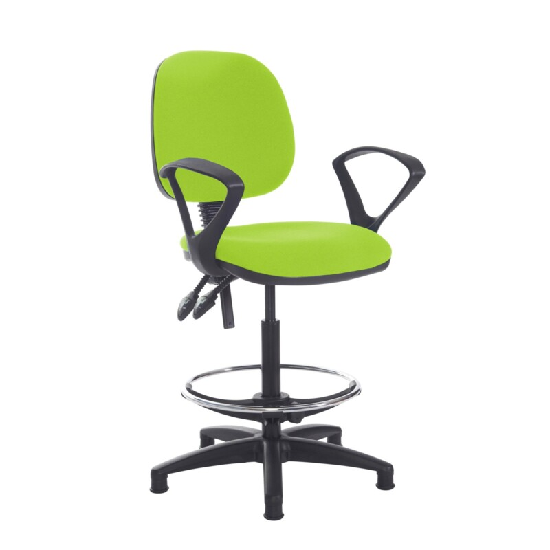 Jota draughtsmans chair with fixed arms - Madura Green - Furniture