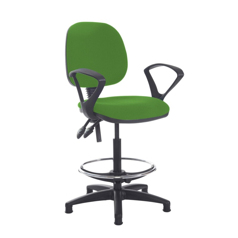 Jota draughtsmans chair with fixed arms - Lombok Green - Furniture