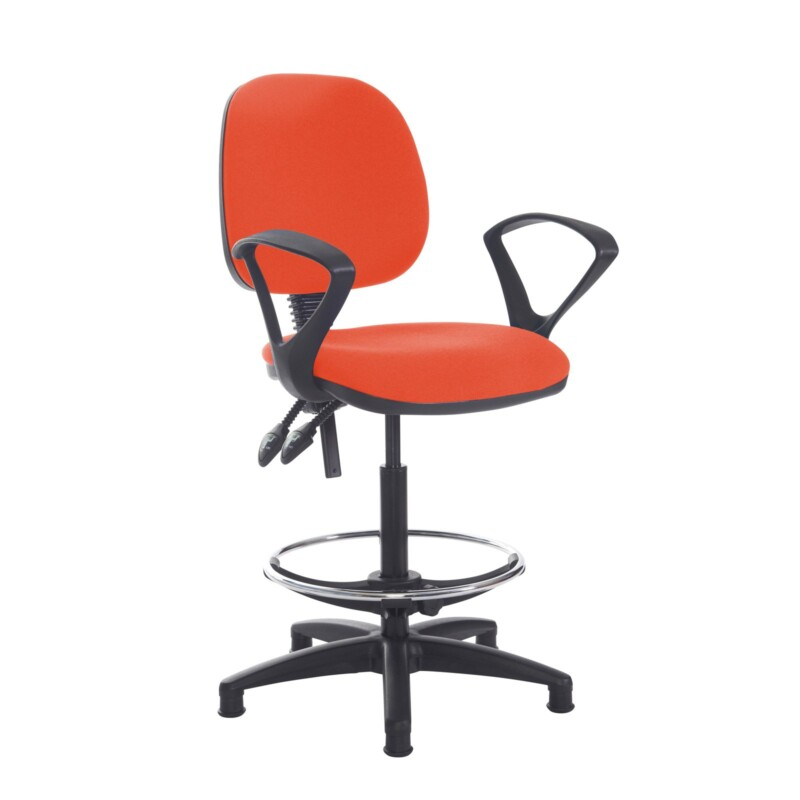 Jota draughtsmans chair with fixed arms - Tortuga Orange - Furniture