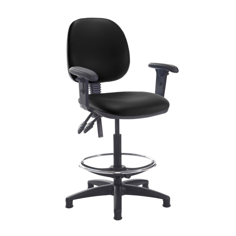 Jota draughtsmans chair with adjustable arms - Nero Black vinyl - Furniture