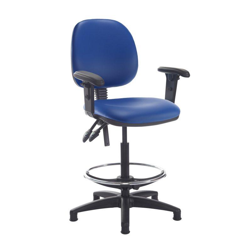 Jota draughtsmans chair with adjustable arms - Ocean Blue vinyl - Furniture