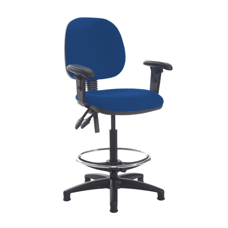 Jota draughtsmans chair with adjustable arms - Curacao Blue - Furniture