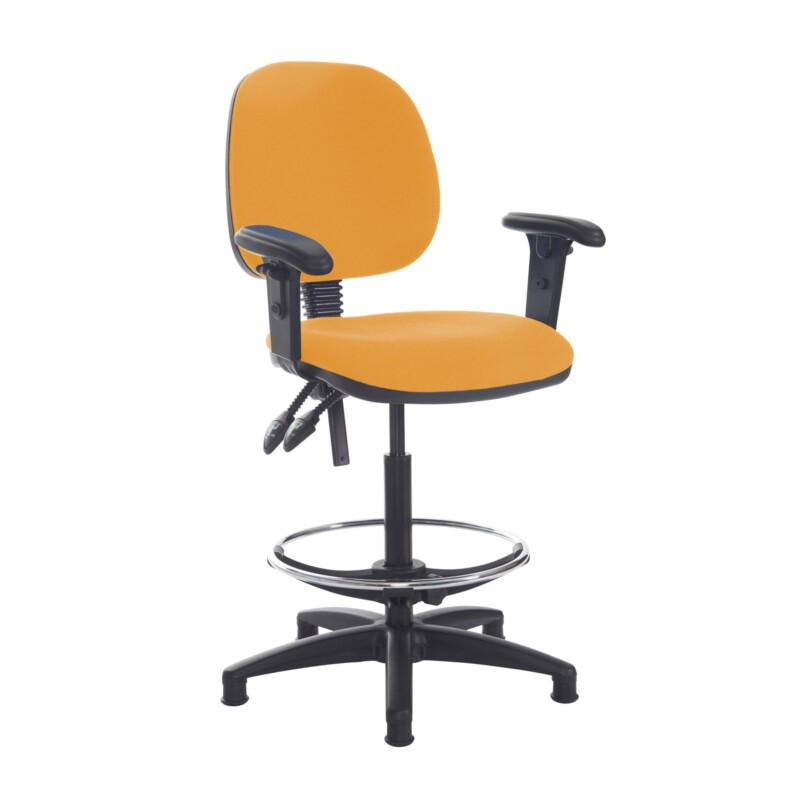 Jota draughtsmans chair with adjustable arms - Solano Yellow - Furniture