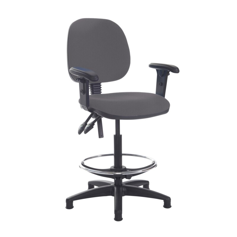 Jota draughtsmans chair with adjustable arms - Blizzard Grey - Furniture