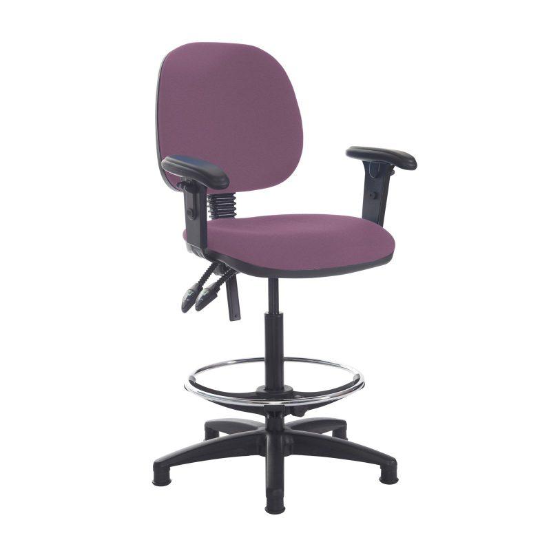 Jota draughtsmans chair with adjustable arms - Bridgetown Purple - Furniture