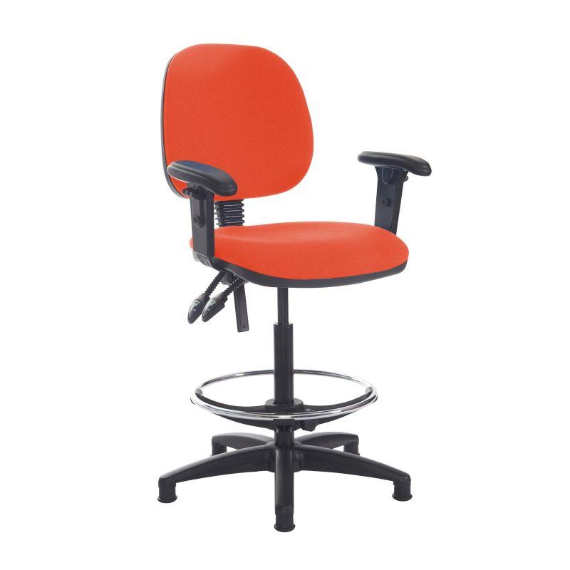 Jota draughtsmans chair with adjustable arms - Tortuga Orange - Furniture