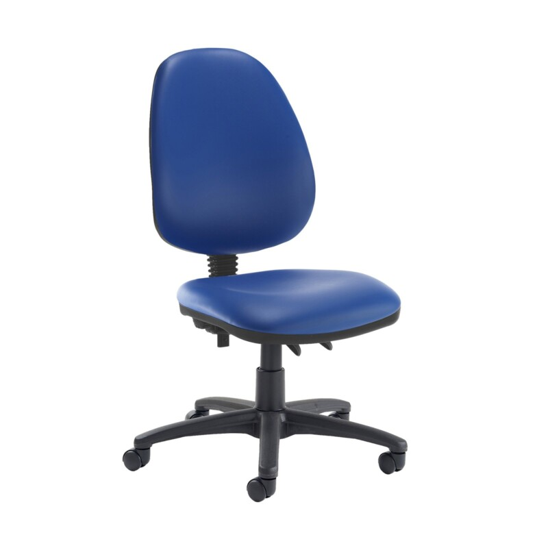 Jota high back PCB operator chair with no arms - Ocean Blue vinyl - Furniture