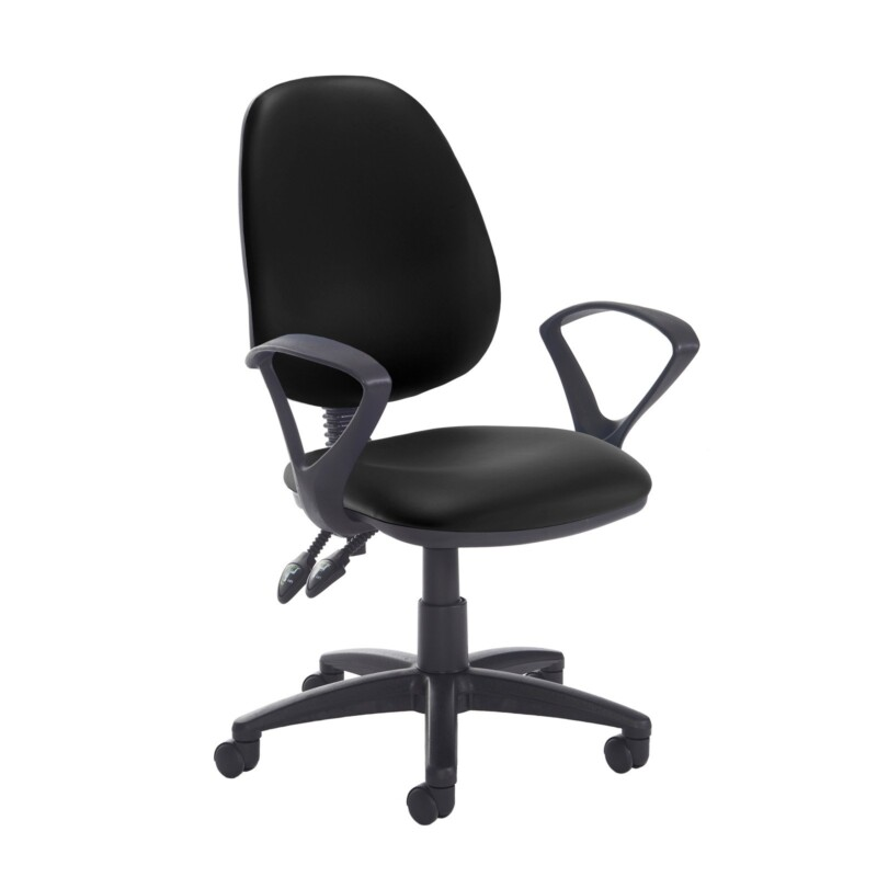 Jota high back PCB operator chair with fixed arms - Nero Black vinyl - Furniture