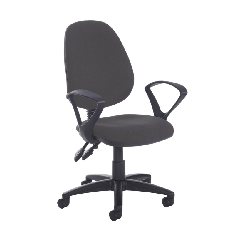 Jota high back PCB operator chair with fixed arms - Blizzard Grey - Furniture
