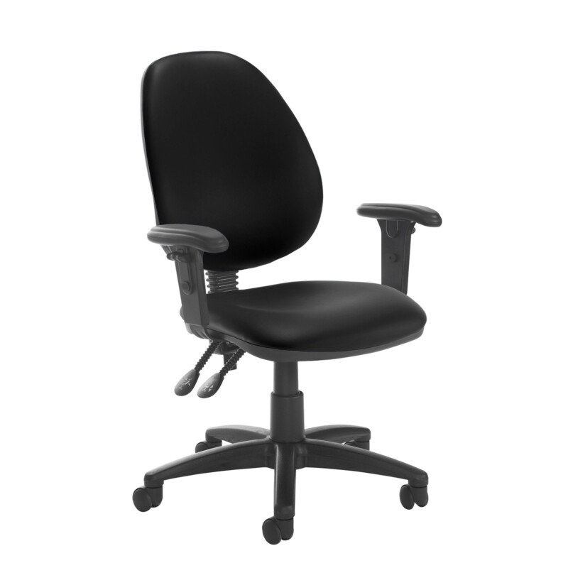 Jota high back PCB operator chair with adjustable arms - Nero Black vinyl - Furniture