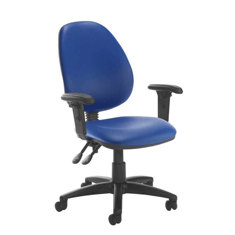 Jota high back PCB operator chair with adjustable arms - Ocean Blue vinyl - Furniture