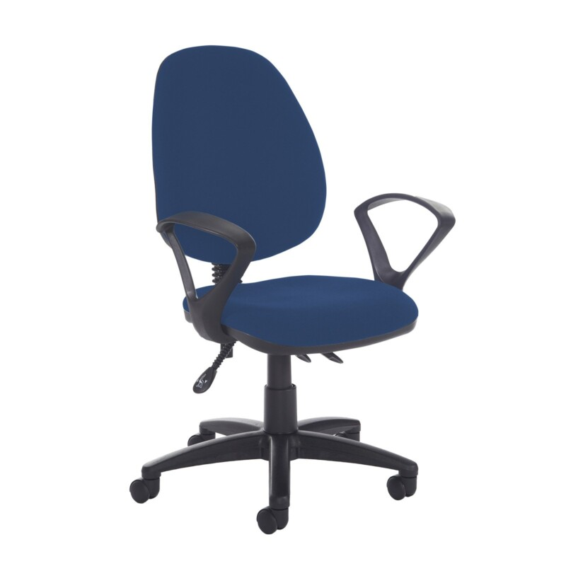 Jota high back asynchro operators chair with fixed arms - Costa Blue - Furniture