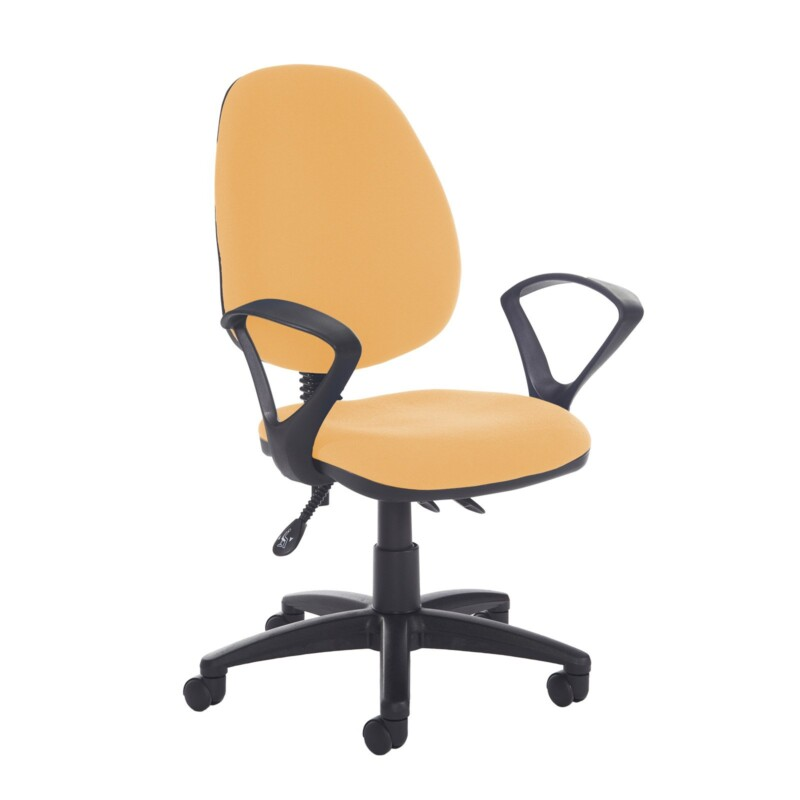 Jota high back asynchro operators chair with fixed arms - Solano Yellow - Furniture