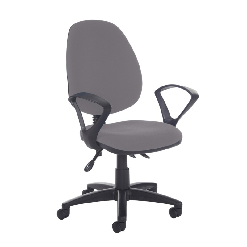 Jota high back asynchro operators chair with fixed arms - Blizzard Grey - Furniture
