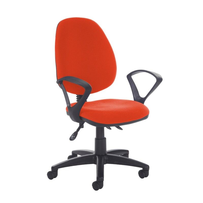 Jota high back asynchro operators chair with fixed arms - Tortuga Orange - Furniture