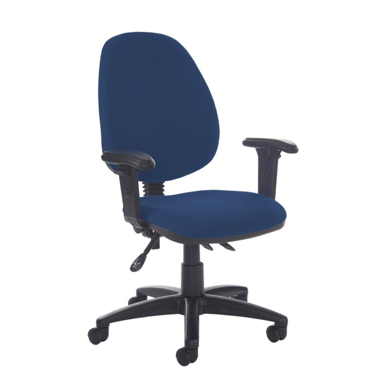 Jota high back asynchro operators chair with adjustable arms - Costa Blue - Furniture
