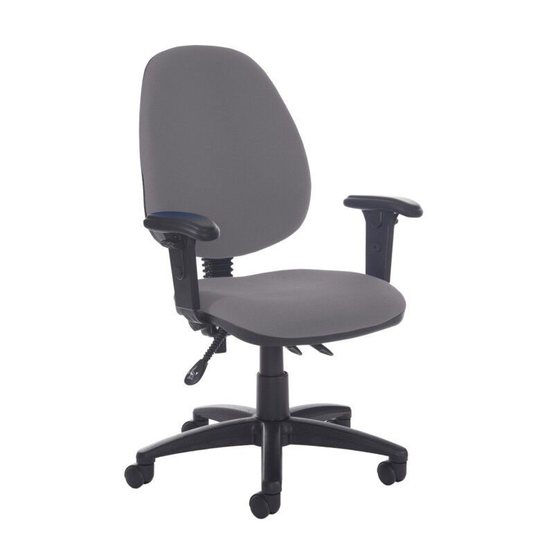 Jota high back asynchro operators chair with adjustable arms - Blizzard Grey - Furniture