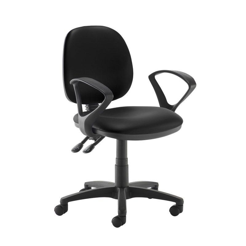 Jota medium back PCB operators chair with fixed arms - Nero Black vinyl - Furniture