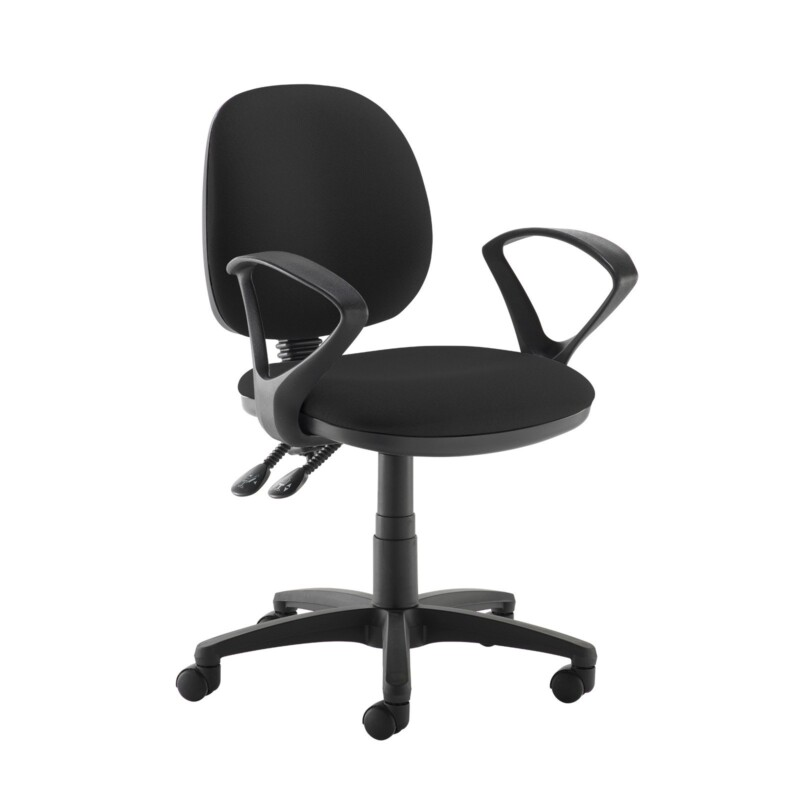 Jota medium back PCB operators chair with fixed arms - Havana Black - Furniture