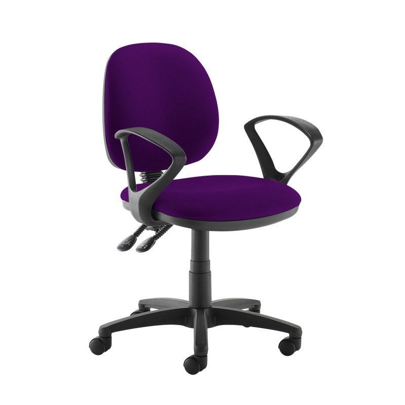 Jota medium back PCB operators chair with fixed arms - Tarot Purple - Furniture
