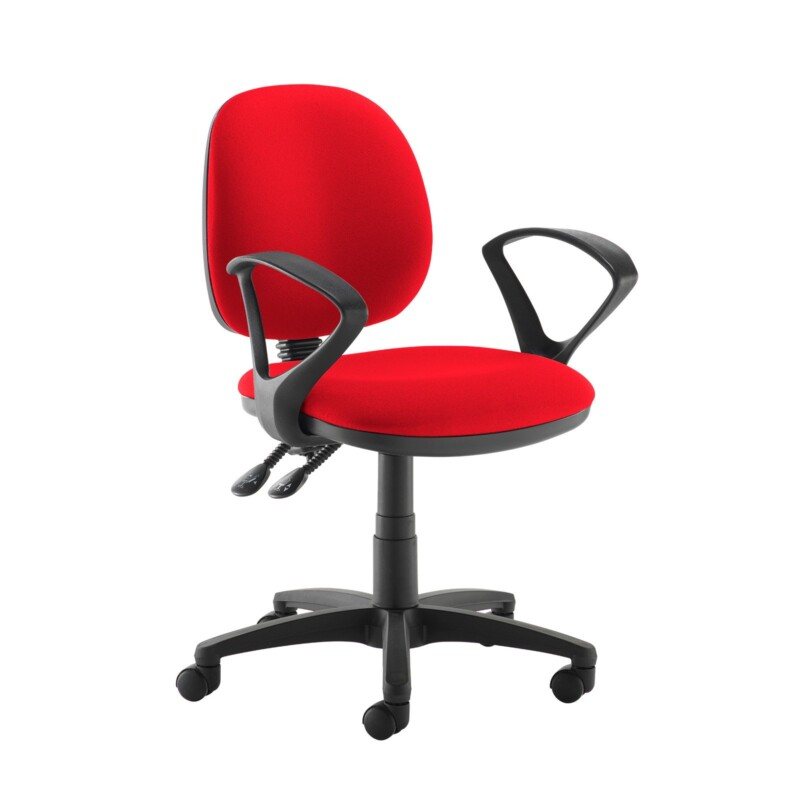 Jota medium back PCB operators chair with fixed arms - Belize Red - Furniture
