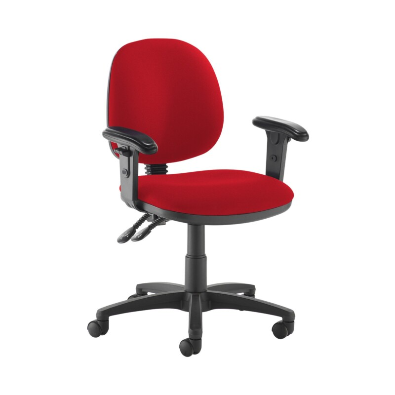 Jota medium back PCB operators chair with adjustable arms - Panama Red - Furniture